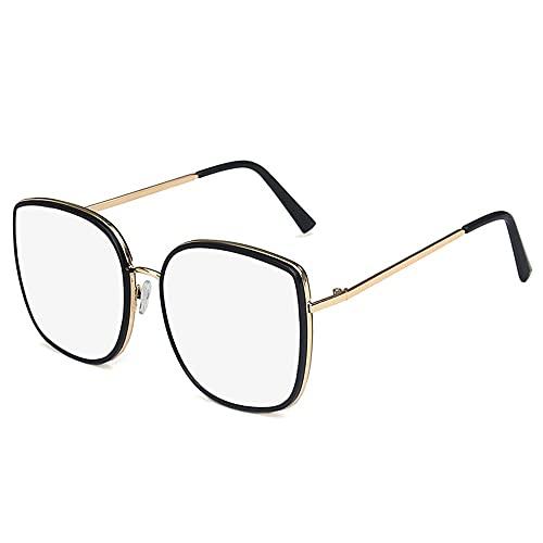 TWDYC Gafas de Sol, Gafas de Sol para Hombres y Mujeres de Marco Grande Gafas de Sol de Moda Gafas de Sol de la Moda de la Lente Blanca del Borde Negro Equitación al Aire Libre