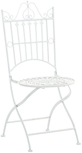 CLP Stuhl Sadao I Klappbarer Gartenstuhl mit edlen Verzierungen I Lehnstuhl aus Eisen I Klappstuhl, Farbe:weiß