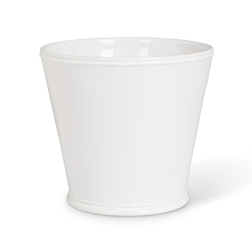Abbott Collection Jenny - Maceta de cerámica con Borde de abalorio, Color Blanco (Grande)