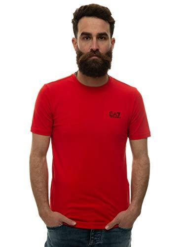 EA7 - Camiseta para hombre, cuello redondo, manga corta, Art 8NPT52 PJM5Z 1451, color rojo, talla a elegir rojo XXL