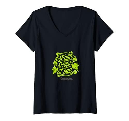 Damen Craft Beer Design Faith, Hops & Love für Fans von Craft Beer T-Shirt mit V-Ausschnitt