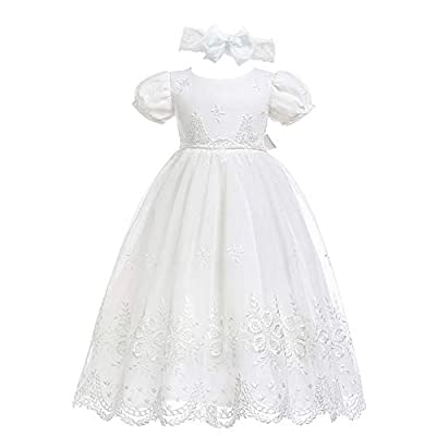 Glamulice Baby-Girls Newborn Satin Christening Baptism Floral Embroidered Dress Gown Outfit (Label Size 3M / 0-6 Months, Off White Dress & Handmade Headband)