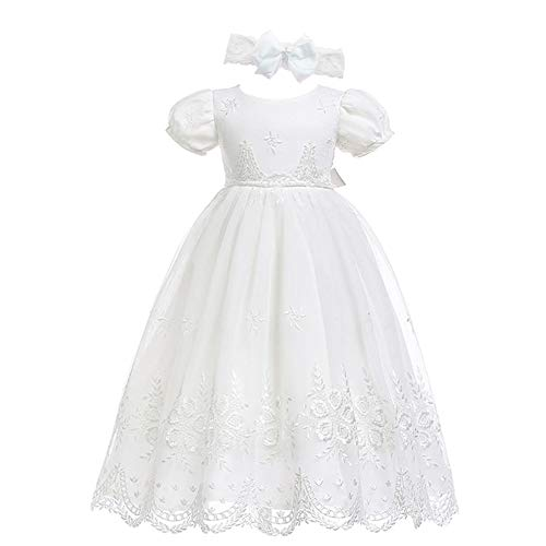 Glamulice Baby-Girls Newborn Satin Christening Baptism Floral Embroidered Dress Gown Outfit (18M / 16-20 Months, Light Ivory White Dress & Headband)