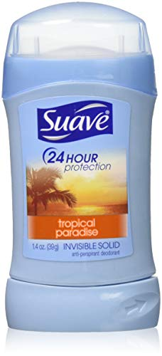 Suave 24 Hour Protection Anti-Perspirant Deodorant Invisible Solid Tropical Paradise 1.40 oz (Pack of 4)