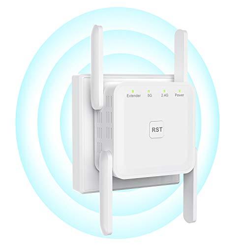 Getue Repetidor WiFi Amplificador Señal WiFi 1200Mbps (5GHz/867Mbps+2.4GHz/300Mbps), Amplificador WiFi con Ap/Repeater/Router Modos