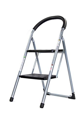 Brookstone BKH1321 2Step Folding Ladder with Soft Grip Easy to Carry Around The House Extra Wide Holds up to 330 Pounds NonSlip Textured Platform Silver/Black