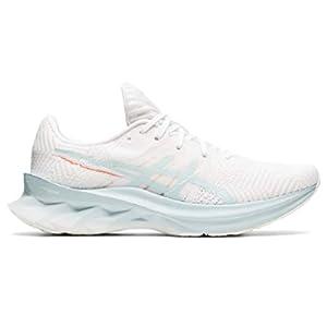 ASICS Women's Novablast Running Shoes, 6.5, White/Aqua Angel