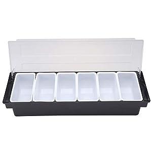 ZLASS Caja de condimentos con 5 bandejas extraíbles y Tapas con bisagras para la frescura de la Fruta, Utilizada para estantes de Acabado de Ingredientes de confitería, Salsa y Ensalada