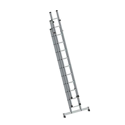 Aluminium ladder met nivello®-traverse 3 x 10 sporten - 20610