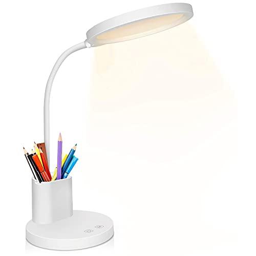 Lampada da Scrivania, Lampada da Tavolo LED, 3 Modalità x 10 Livelli di Luminosità, Controllo Touch, Dimmerabile, per la cura Degli Occhi, 360° a Collo d'oca per Studio a Casa, Lampade da Comodino