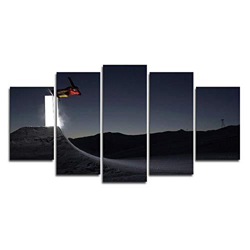 rkmaster Leinwandbild HD Druck Ölgemälde Leinwanddruck Große Poster 5 Modulare Bilder Der Nacht Snowboard Kunst Wohnzimmer Wohnkultur Vlies