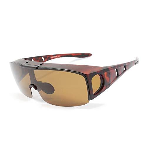 偏光 跳ね上げ式 オーバーグラス 保護メガネ ドライブ アウトドア スポーツ サングラス SGB5002-05 マットブラウンデミ/ブラウン