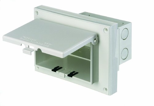 Arlington DBHR131W-1 Low Profile IN BOX Electrical Box with Weatherproof Cover for Retrofit Siding Construction, 1/4-Inch or 5/16-Inch Lap, Horizontal, White