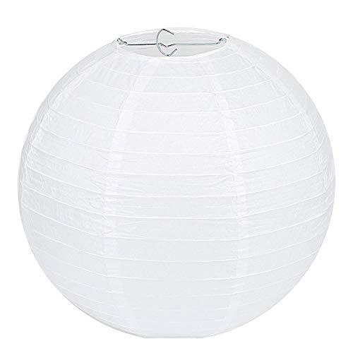 Lampenschirm Rund Weiß Papier Laterne Classic Bamboo Style Gerippter Lampenschirm Deko für Party Garten Hochzeit Dekoration (30 cm, 12