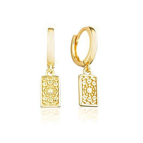 weichuang Pendientes de plata de ley 925 con cierre de plata de ley 925 con cierre de plata de ley 925, con diseño minimalista de candado, joyería de moda (color de la gema: oro 3)