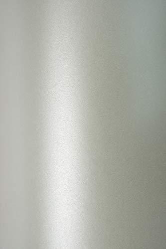 10x Blatt Perlmutt-Silber 125g Papier DIN A4 210x297mm, Sirio Pearl Platinum, ideal für Hochzeit, Geburtstag, Taufe, Weihnachten, Einladungen, Diplome, Visitenkarten, Grußkarten, Scrapbooking