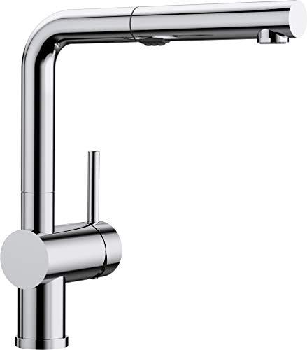 BLANCO LINUS-S Vario - Küchenarmatur mit herausziebarer Spülbrause mit Umschalt-Funktion – Hochdruck – Chrom – 518406