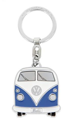 Brisa VW Collection - Volkswagen Furgoneta Hippie Bus T1 Van Llavero Vintage en una Caja de Regalo, Anillo de Llavero Retro, Accesorios del Coche como Idea de Regalo/Souvenir (Frente/Azul&Blanco)