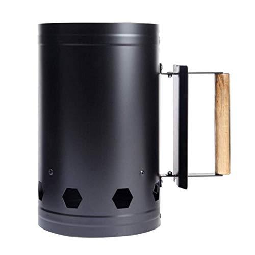 Tubayia Metall Anzündkamin Grillkohleanzünder Grillstarter mit Holzgriff für BBQ, Kamin, Grill