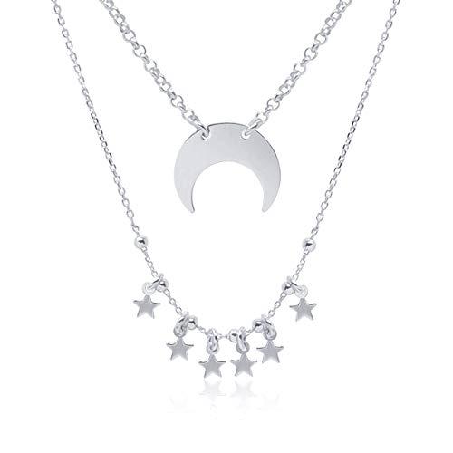 Collar Doble Colgante Media Luna Invertida para Mujer, Chica Joven, Plata de Ley 925 con Estrellas, Cuerno, Collar Varias Capas