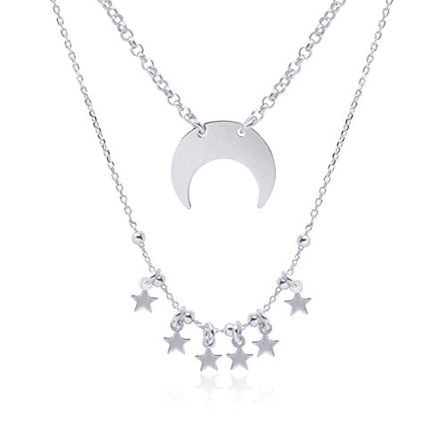 WANDA PLATA Layered Crescent Moon and Stars Necklace for Woman Sterling Silver 925, Double Layer, Horn, Half Moon …