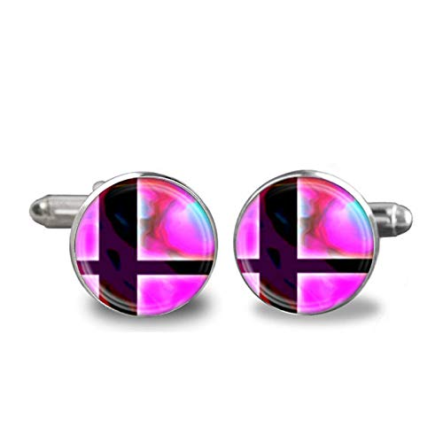 2017 New Glass Cufflink Super Smash Bros Ball and Black Cufflinks Glass Dome Silver Vintage Gift for Friend Jewelry