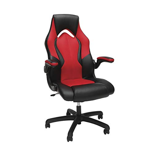 OFM Essentials Collection High-Back Racing Style Bonded Leather Gaming Chair, in Red