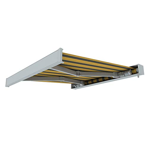 paramondo Markise Kassettenmarkise Line Gelenkarmmarkise Balkon Terrasse Sichtschutz, mit jarolift Funkmotor, 3,5 x 3 m, Gestell: Weiß, Stoff: Block, Gelb-Grau