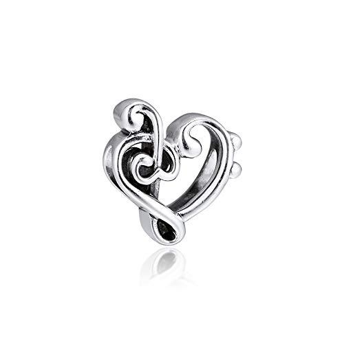 LILANG Pandora 925 Pulsera de joyería de Plata esterlina Natural corazón Clave de Sol encantos Cuentas de Moda para Mujeres Regalo DIY