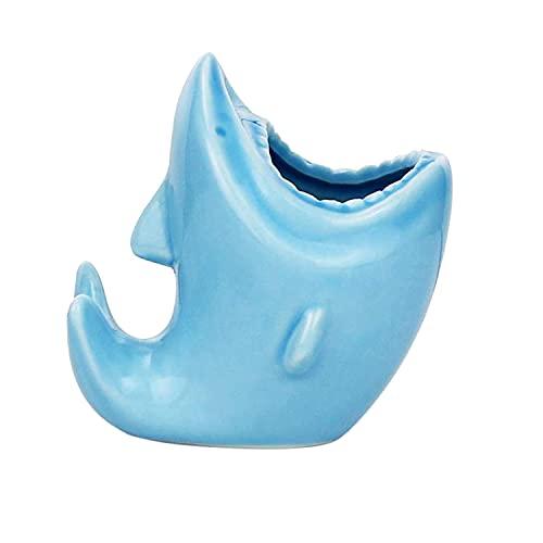 TOOGOO Lindo Soporte de LáPices BolíGrafo para Organizador de Escritorio Macetas Suculentas de CeráMica en Forma de TiburóN para DecoracióN de Oficina en Casa (Azul)