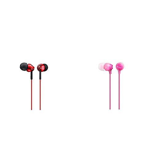 Sony MDR-EX110LP Cuffie In-Ear, Auricolari in Silicone, Rosso & Mdr-Ex15Lp - Cuffie In-Ear, Auricolari in Silicone, Rosa