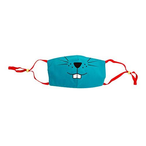 VijTIAN - 5 piezas para niños y niños, diseño de emoticonos de dibujos animados, lavable, reutilizable, transpirable, accesorios para la escuela y al aire libre, color azul