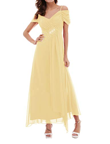 Floor Length Evening Dress Off The Shoulder Bridesmaid Wedding Guest Dresses Chiffon Gown Yellow US26W