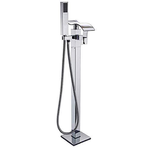 Rozin Freistehende Badewanne Brausemischer aus Chrom mit ABS-Handsprüher einhandiger Bodenmontage Wasserfall Auslauf Badezimmerarmatur