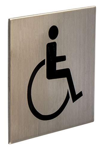 Gedotec selbstklebende Türschilder Edelstahl Toiletten-Schild eckig - Rollstuhlfahrer FI10009 | WC-Symbol für Zimmertür | Edelstahl matt gebürstet | 75 x 75 mm | 1 Stück - Design Tür-Schild zum Kleben