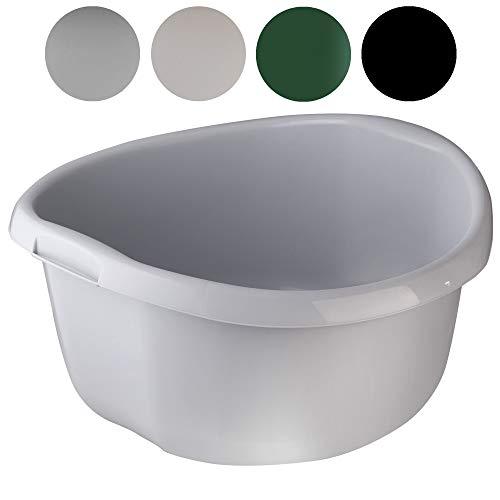 KADAX Runde Kunststoffschüssel. Becken tief und robust. Schüssel, Waschschüssel, Spülwanne Groß Eignet Sich hervorragend für das Badezimmer, den Waschraum, die Küche und das Haus (Grau, 30L)