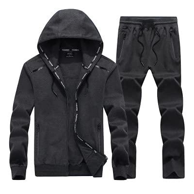 Conjunto Traje Deportivo para Hombre Conjunto Chaqueta Polo Informal con Capucha y pantalón chándal Conjunto chándal 2 Piezas Dark Grey 4XL