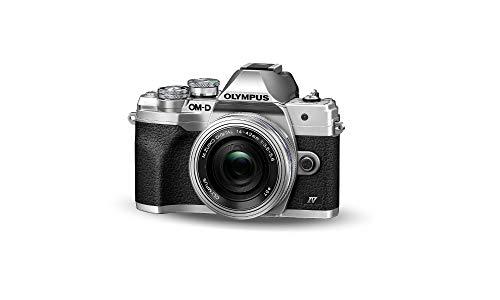 Olympus OM-D E-M10 Mark IV Micro-Four-Thirds-Systemkamera-Kit, 20 MP Sensor, 5-Achsen-Bildstabilisation, leistungsstarker AF, Wi-Fi, Silber inkl. M.Zuiko Digital ED 14 42mm F3.5 5.6 EZ Pancake silber