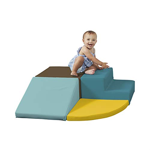 Factory Direct Partners SoftScape Toddler Playtime Corner Climber, Indoor Active Play Structure for Toddlers and Kids, Safe Soft Foam for Crawling and Sliding (4-Piece Set) - Earthtone