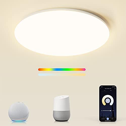 Smart LED RGBW Deckenleuchte kompatibel mit Alexa&Google Home, Maxcio 24W 35cm Wlan Deckenlampe dimmbar IP54, LED Lampe für Kinderzimmer Schlafzimmer Badezimmer