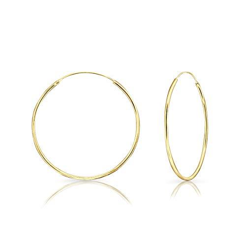 DTPsilver - Damen - Creolen - Ohrringe 925 Sterling Silber und Gelb Vergoldet - Dicke 1.5 mm - Durchmesser 35 mm