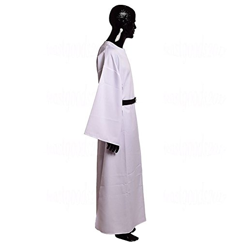 BLESSUME Brown Medieval Wicca Pagan Ritual Robe with a Leather Belt (White, XL)