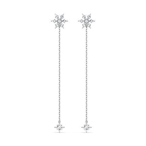 Swarovski Magic Chain Ohrringe, Weiße und Rhodinierte Ohrhänger mit Schimmernden Schneeflocken-Anhängern und Funkelnden Swarovski Kristallen