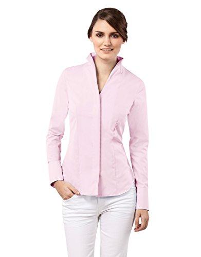 Vincenzo Boretti Damen Bluse mit Kelchkragen tailliert 100% Baumwolle bügelfrei Langarm Hemdbluse mit Stehkragen elegant festlich auch für Business Altrosa 36
