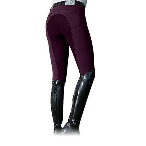 Frolada Reithose Equestrian Long Racing Röhrenhose Damenmode High Waist Elastic Equestrian Pants Horse Weinrot M.