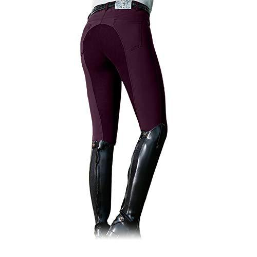 Frolada Reithose Equestrian Long Racing Röhrenhose Damenmode High Waist Elastic Equestrian Pants Horse Weinrot XL