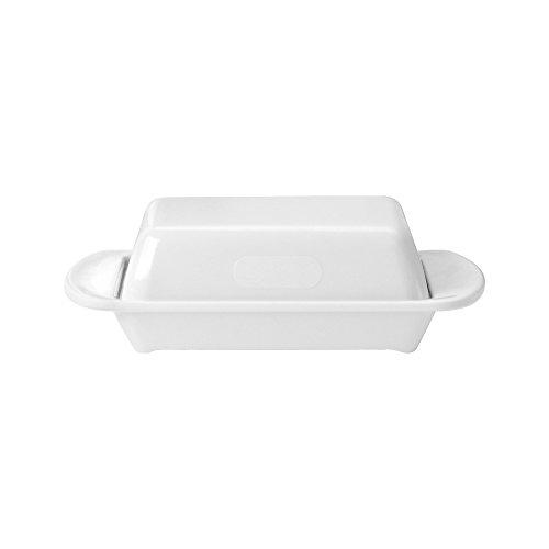 WACA® 0322-710 Melamin-Tischbutterdose mit Deckel Aufbewahrung 170x150x50 mm weiß