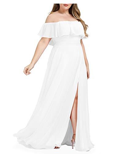 Ever-Pretty Vestidos de Fiesta Gasa Abertura A-línea Corte Imperio sin Hombros Talla Grande para Mujer 00968-EU2