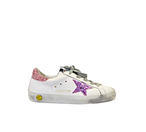 Golden Goose Sneakers Superstar Bianco Glitter Rosa, 30