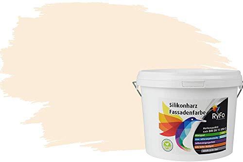 RyFo Colors Silikonharz Fassadenfarbe Lotuseffekt Trend Weißtöne Cremabeige 3l - bunte Fassadenfarbe, weitere Weiß Farbtöne und Größen erhältlich, Deckkraft Klasse 1
